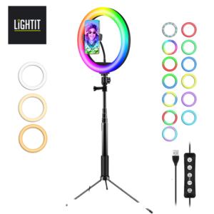 """תאורת רינג לייט 26 ס""""מ RGB - מחליף צבע"""